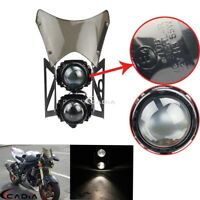 For Streetfighter Motorcycle H3 Twin Headlight Projector Windshield w/Bracket