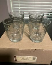 "USA (5) Flat Tumblers 4"", 12 oz Clear Glass Longaberger woven traditions New"