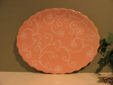 """Amscan 15"""" Oval Serving Tray Peach and White"""