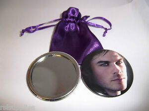 Vampire Diaries Damon Salvatore Handbag/Lipstick Mirror With FREE Satin Pouch