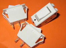 3 pieces - SPST 15A 125VAC Rocker Switch - Light Gray, Snap In, 10A 250VAC, T-85