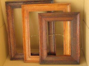 3 early 20th c. Vintage oak picture frames, 2 x dark,1 x medium, no backs/ glass