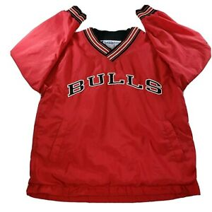 Vintage 90s Chicago Bulls Champion Pullover Jacket Mens Size L Red NBA VTG YZY