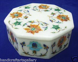 "4""x3""x2"" Marble Jewellery Box Store Hakik Floral Art Marquetry Inlay Decor H2102"