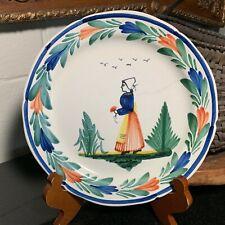 "Mid 1900's HB Quimper France Breton Woman 9"" Plate"