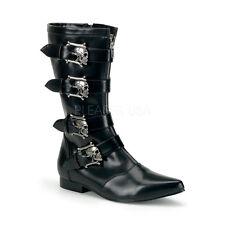 Demonia Brogue-107 Blk Winklepicker Beatle With Skull 4 Buckles Mens Boots