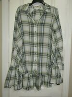 Easel Green Plaid Long Tunic Top Size Large