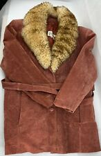 Rare Deerskin Belted Jacket Coat Leather Removable Wool Neck piece Size 12
