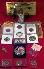 <Collectors Lot>Proof& Slab Coins+Trump&Mini Coins/Gold$100&$100 Bar/Silver+More