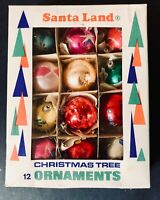 Vintage Santa Land Hand Blown Christmas Tree Round Ornaments Box Of 12 - Poland