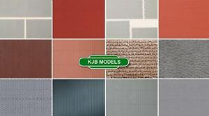 BNIB OO HO Gauge Plastic Embossed Sheet Brick Concrete Paving Corrugated Roofing