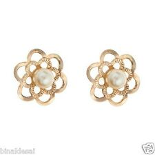 9ct Gold 8mm Large Andralok Flower Cultured Pearl Studs Earrings Valentines GIFT