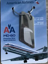 AMERICAN AIRLINES MD80 Genuine Skin Tail#582 Keychain/Luggage Tag