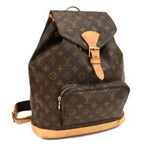 Auth LOUIS VUITTON Monogram Montsouris GM M51135 Backpack Brown Canvas