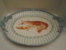 "Fitz & Floyd Seaboard Ceramic Lobster 19"" Handled Platter"