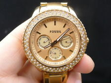 NEW OLD STOCK FOSSIL STELLA ES3003 DAYDATE ROSE GOLD QUARTZ LADY WOMEN WATCH