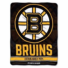 "NHL Boston Bruins Plush Micro Blanket 46x60 ""Break Away"" Official NEW"
