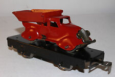 1930's Marx O Gauge Flat Car with Streamline Dump Truck, Red, Restored, Lot #3