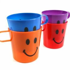 28 x CHILDREN KIDS PLASTIC SMILEY FACE MUGS CUPS WITH HANDLE FUN TRAVEL HOME