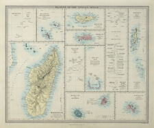 INDIAN OCEAN ISLANDS Madagascar Seychelles Maldives Mauritius. SDUK 1857 map