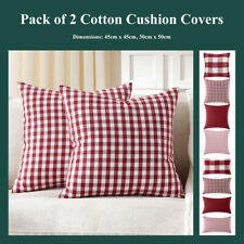 Pack of 2 Red White Buffalo Check Cushion Covers Stripe Gingham Pillow Cases