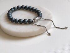 David Yurman Spiritual Bead Bracelet with Matte Hematite 8mm ONE SIZE Authentic