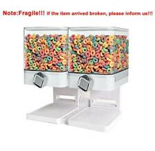 Double Cereal Dispenser Dry Food Storage Container Dual Control Dispenser White