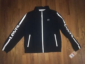 Levis Mens Jacket Black Zip Up XL Wind Breaker New With Tags