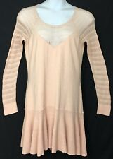 Victoria's Secret XL Crochet Lace Sleeve Dropwaist Stretch Blush Sweater Dress