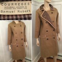 Vintage COURREGES by Samuel Robert Size 6 8 Medium Brown Wool Leather Long Coat