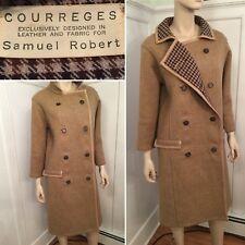 Vintage COURREGES by Samuel Robert Size 6 8 Medium Brown Wool Leather Long Coat