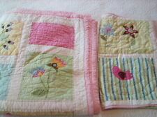 Pottery Barn Kids Full Size Applique Quilt and Sham Pink Blue Green Birds Flower