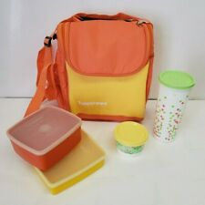 Tupperware Lunch Bag & Tumbler, Snack Cup, 2 Square Containers