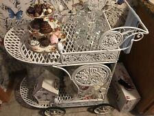 Vintage Wrought Iron Bar Cart, Tea or Beverage Trolley