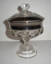 RARE Vintage Platinum Stained Kings Crown Compote LIDDED Indiana Glass