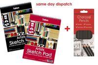 A4 Artist Sketch Drawing Book Pad 40 Sheets 90gsm + Charcoal Pencils Set