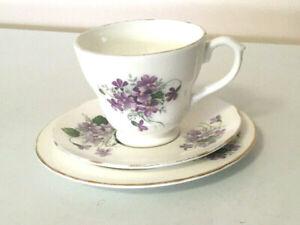 Crown Trent Purple Violets Bone China Trio, 1950's Tea Cup, Saucer & Plate