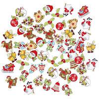 50pcs Random Mixed Wooden Button Christmas Pattern Scrapbook Decorative Butt Hf