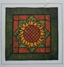 The Sunflower Stained Glass Applique Quilt Pattern 23 x 23 Three Swans Studios
