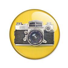 Badge APPAREIL PHOTO REFLEX VINTAGE Camera 70's pop retro jaune yellow Ø25mm