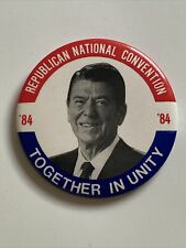 """1984 Republican National Convention Ronald Reagan 3"""" Button Together In Unity"""