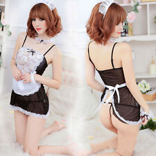 FD615 Sexy Sheer Women French Maid Fancy Dress Costumes Princess Queen Dress