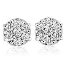 1/4 Pernos de Cttw Diamond Cluster en Oro Blanco 10k Pendientes para Mujer
