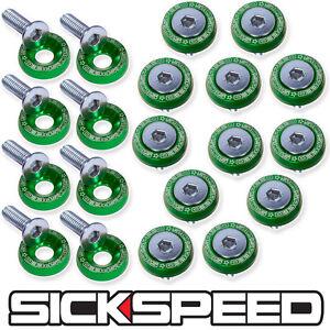 GREEN 20 PC BILLET ALUMINUM FENDER/BUMPER WASHER/BOLT ENGINE BAY DRESS UP P5