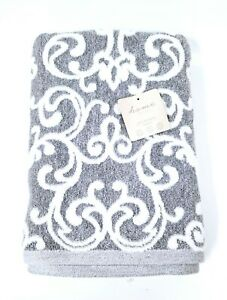 NEW HOME FOCUS BAMBOO ECO-MELANGE GRAY,WHITE SWIRL,DAMASK PATTERN BATH TOWEL