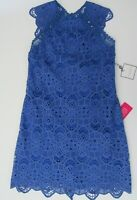 NWT Laundry by Shelli Segal Blue Open Back Venise Lace Dress Sz 10 12 NEW $195