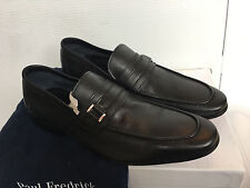 Paul Frederick FPE109D Leather Belted Loafer Vero Cuoio Size 9.5 Navy