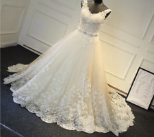 Wedding Dresses V-Neck Beaded Sash Backless Bridal Gowns A-Line White Ivory Lace