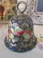 Vintage Metal Floral Enamel Cloisonné Bell Ornament Small 3 Inch