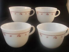 CORNING COFFEE CUP MUG WHITE MILK GLASS WITH FLORAL PATTERN SET OF 4 MODEL 10